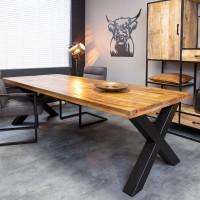 Eettafel mangohout rechthoek X-poot 220x90 cm