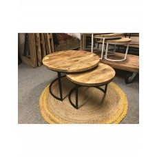 Ronde salontafel set mangohout