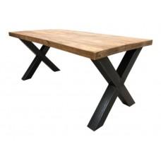 Eettafel mango hout X-poot 180x90 cm