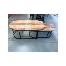 Salontafel tafel ovaal mango hout set van 2